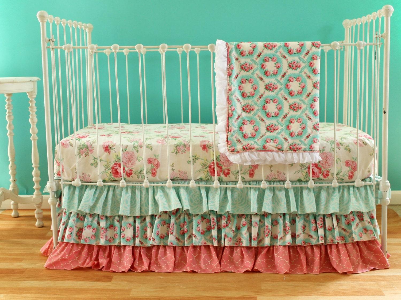 Pink And Aqua Vintage Inspired Crib Bedding Set Multiple Set