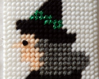Plastic Canvas Halloween Witch Coaster or Ornament