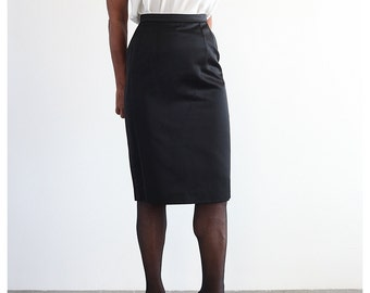 1980s Guy Laroche Black Skirt XS Satin Pencil Skirt Designer Midi Skirt Extra Small
