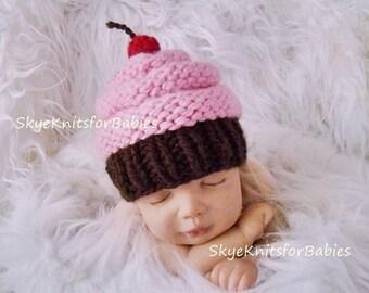 Knit Baby Cupcake Hat, Newborn Cupcake Hat, Baby Girl Cupcake Hat, Preemie - 24 Months, Newborn Photo Prop, Baby Photo Prop
