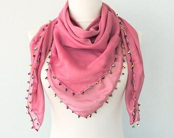 Beaded scarf Dark pink scarf Summer accessories Turkish oya scarves Women fashion Summer shawl  Gauze shawl Cotton scarf Gift idea for her