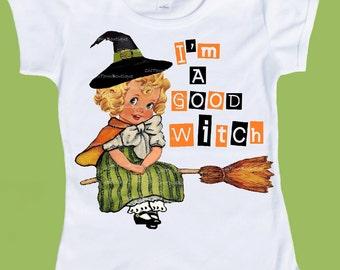Halloween Witch Shirt, I'm a Good Witch ORIGINAL top,ANY saying vintage T-Shirt, Retro shirt, Girls Halloween tee, baby girls' toddler top