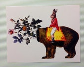 Postcard Mini Print - Rabbit Riding Circus Bear with Flowers and Ladybugs Original Collage