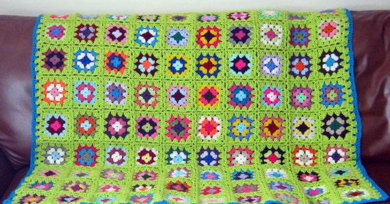GRANNY SQUARES Zesty Lime BLANKET Crochet Afghan