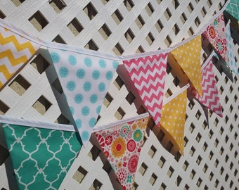 Party Decoration, Birthday Decoration, Fabric Banner, Colorful, Bunting, Flags, Photo Prop, Chevron, Dots, Hot Pink, Teal, Yellow, Birthday