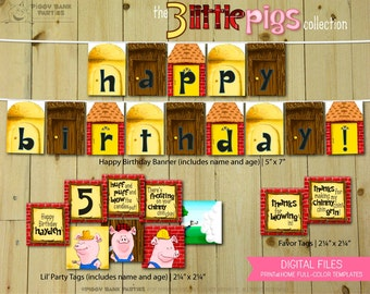 The Three Little Pigs Collection : Print at Home Birthday Party Decorations | Big Bad Wolf | 3 Little Pigs | DIY Printable | Digital Files