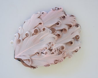 CLEARANCE  Light Pink and Brown Feather Pad, Curly Feather Pad