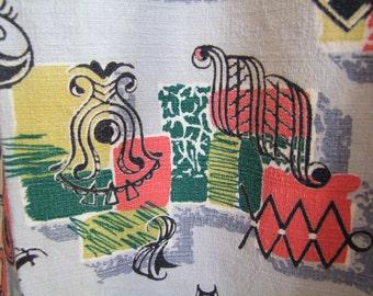 Vintage 1950s Curtains // Rare 40s 50s Avant Garde Print Barkcloth Curtains // Abstract Atomic Print