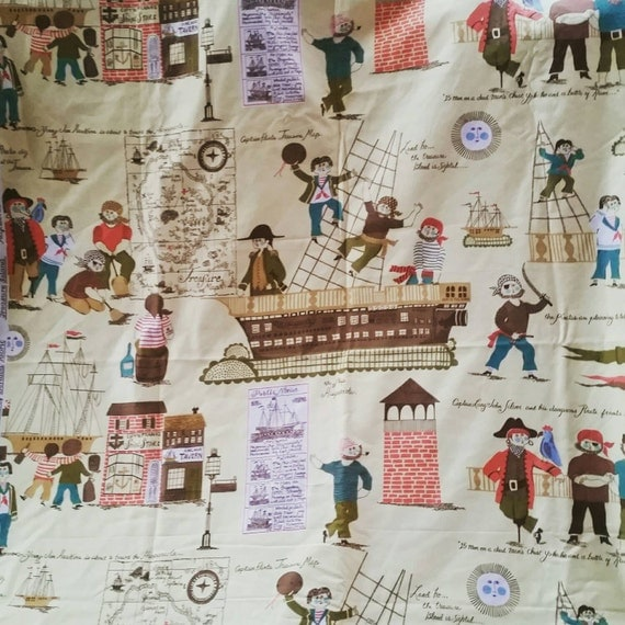 Pirate fabric for kids treasure island quilters cotton for Vintage childrens fabric by the yard