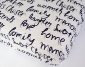Script Baby Bedding - Changing Pad Covers / Fitted Crib Sheet / Mini Crib Sheets / Babyletto Mini Sheets / Babiease Baby Bedding