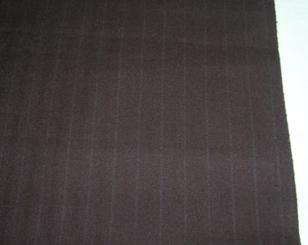 "Vintage Wool Pinstriped Pin Striped Fabric 60"" Wide Chocolate Brown"