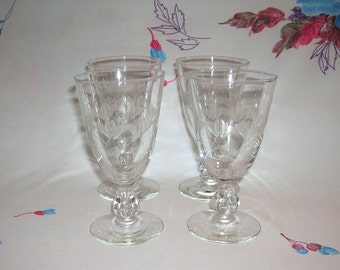 4 Vintage Libbey Rock Sharpe Wine Glasses Fernleigh Pattern No. 3003 Stem Circa 1955