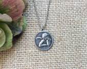 Angel Necklace,Cherub Necklace,Charm Necklace,Sterling Silver Necklace,