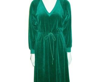VTG NWT Unworn Styled By Saybury Hunter Green V-Neck Drawstring Waist Dolman Raglan Sleeeve Stretch Velour Disco Boho Dress Small & Medium