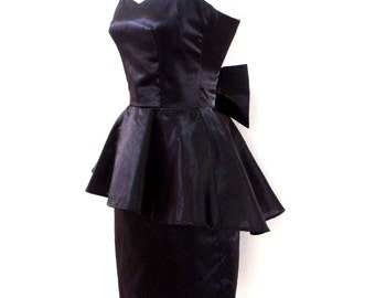 Black Strapless Party Dress - Vintage Black Peplum Evening Dress - Black Strapless Rocker Mini Dress - Size X Small to XX Small