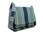 Blue Stripe Pocketbook, Women's Messenger Bag, Crossbody Purse, Cross Body Bag, Home Dec Fabric Shoulder Bag, Fabric Purse, Striped Bag