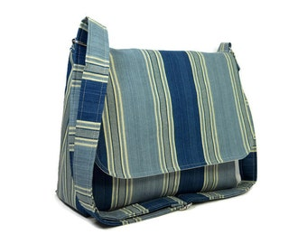 Blue Stripe Pocketbook, Women's Messenger Bag, Crossbody Purse, Cross Body Bag, Home Dec Fabric Shoulder Bag, Fabric Purse, Striped Bag