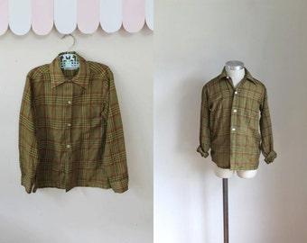 vintage boy's plaid shirt - MUSTARD & KETCHUP button down / 9/10yr
