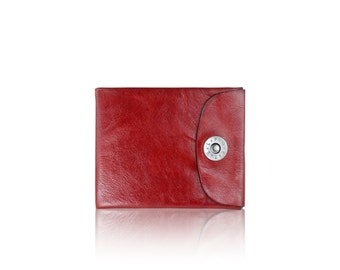 Mens BIFOLD wallet - slim SLOWDESIGN leather wallet - - RED