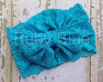 Turquoise Lace Messy Bow Head Wrap
