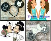 I'm her prince/ I'm his princess SET - CUSTOM Engagement Bride Groom Mouse Ears Headband