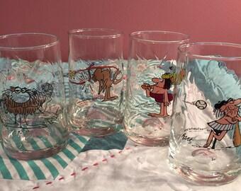 Vintage 1981 Arby's 4 Piece Set Water Glasses B C Comics #3221