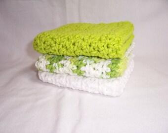 "Set of 3 Handmade Crocheted Dish Cloths,Kitchen Cloths,Bath Cloths,Bath and Beauty,Home and Living - 7"" x 7"" 100% Cotton"