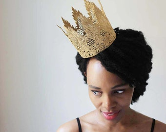 """Gothic Queen Gold Crown - """"Gothic Queen Medium"""" - lace crown, fairy tale, ballet crown, birthday crown, bridal crown, bachelorette party"""