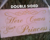 Wedding Signs REVERSIBLE Large Here Comes Your Princess & And They Lived Happily Ever After Blush Pink and Gold Wedding