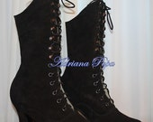 Victorian Shoes Victorian Black Boots Victorian style Lace up Boots  Ankle boots Steampunk boots  Goth boots