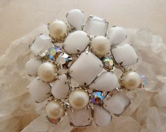 Milk Glass Rhinestone Brooch, Pearl and Glass Vintage Pin
