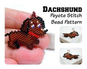 Dachshund Beadweaving Patterns, Peyote Stitch Dog Bead Pattern | DIGITAL FILE
