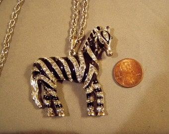 Vintage 1980s Rhinestone Black Enamel Zebra Pendant Necklace  8120