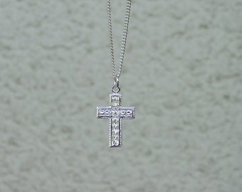 "Cross Pendant Sterling Silver with 18"" Chain,Cross Jewelry"