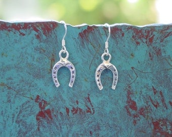 Horseshoe Sterling Silver Earrings Equestrian Jewelry Horseshoe Jewelry