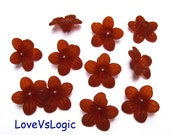 30 Acrylic Flower Beads.Matte Dark Red