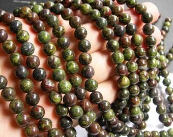 Dragons blood jasper - 8mm round beads -  full strand - 48 beads  - RFG327