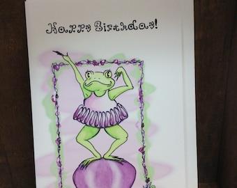 Birthday Card Frog Ballerina