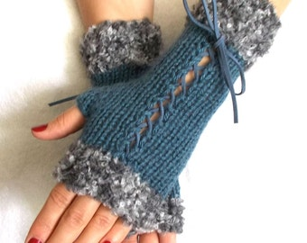 Women Fingerless Gloves Corset Arm Warmers in Blue with Suede Ribbons and Grey Shades Boucle Edges Victorian Style