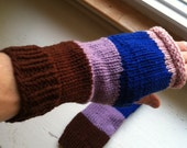 Hand Knit Women's Striped Hand Warmers - Fingerless Gloves - Warm and Soft - Mixed Colors