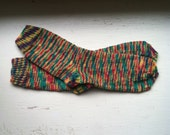 Hand Knit Soft And Warm  Women's Pure Wool  Socks, Size  8.5  - 9  (9.75 inches length) - A Bit Crazy Socks- Color Christmas Lights
