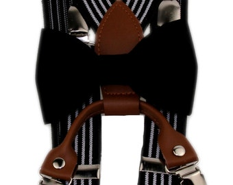 Ages 3T - 6 Yrs. ~ Black Clip On Bow Tie and Black / White Striped Suspenders Boys Toddler 3T 4T 5T
