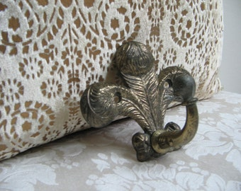 Vintage Fleur de Lis Brass Wall Hook Embossed With Fabulous Patina, French Paris Apartment