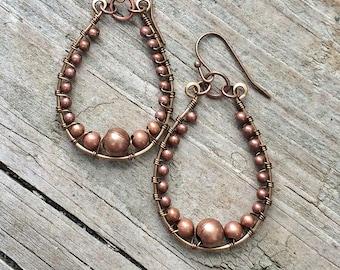 Boho Copper Earrings, Copper Hoop Dangle Earrings