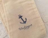 Nautical Favor Bags Anchor Bags Baby Shower Birthday Thank you Bags Set of 10