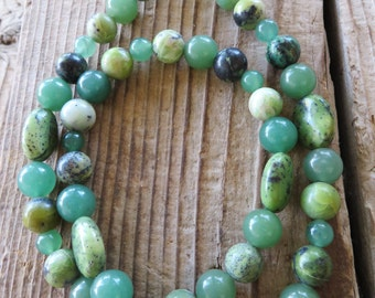Green Sesame Jasper Chrysoprase and Aventurine Beaded Necklace