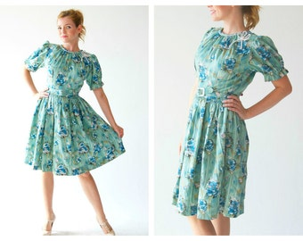 Cute 50s Mint Green Dress- Small, 27, Floral Babydoll Lolita Dress, Party Teal, Turquoise Mint Blue Fit and FlareFlower Retro
