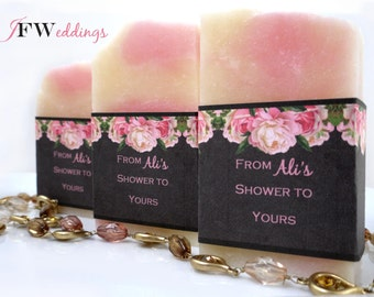 50 Vegan SOAP Favors ~ Bridal ~ Wedding ~ White Tea and Ginger in Floral or Custom Labels ~ Handmade in 7 days ~ with Cellophane Bags