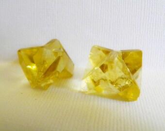 Light Yellow Czech Glass Buttons Geometric Cut Pair