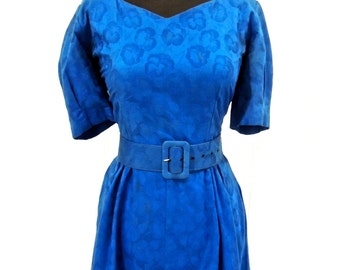 SALE vintage belted blue party dress - 1960s Lili Richards brocade puff-sleeve dress